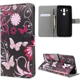 Plånboksfodral Huawei Mate 10 Pro - Svart med Fjärilar