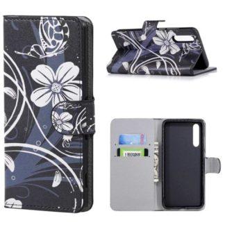 Plånboksfodral Huawei P20 Pro - Svart med Blommor