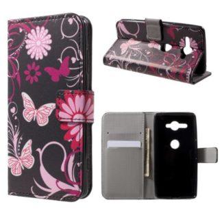 Plånboksfodral Sony Xperia XZ2 Compact - Svart med Fjärilar
