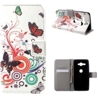 Plånboksfodral Sony Xperia XZ2 Compact - Vit med Fjärilar