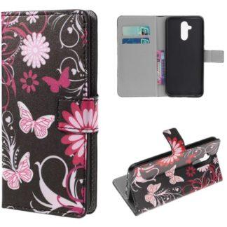 Plånboksfodral Huawei Mate 20 Lite - Svart med Fjärilar