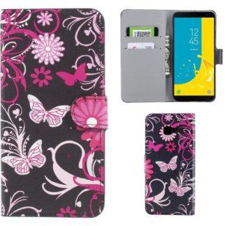 Plånboksfodral Samsung Galaxy J4 Plus - Svart med Fjärilar
