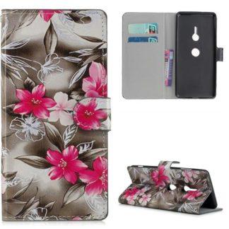 Plånboksfodral Sony Xperia XZ3 - Svartvit med Blommor