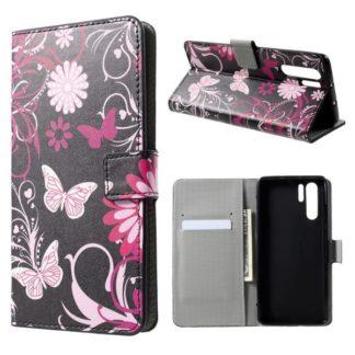 Plånboksfodral Huawei P30 Pro - Svart med Fjärilar