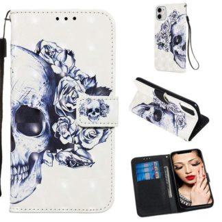 Plånboksfodral Apple iPhone 11 – Döskalle / Rosor