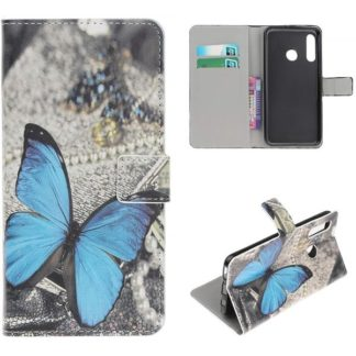 Plånboksfodral Huawei P30 Lite - Blå Fjäril