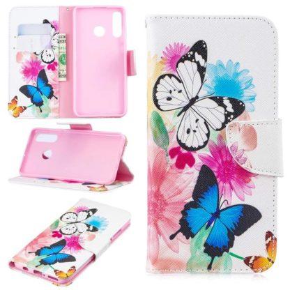 Plånboksfodral Huawei P30 Lite – Färgglada Fjärilar