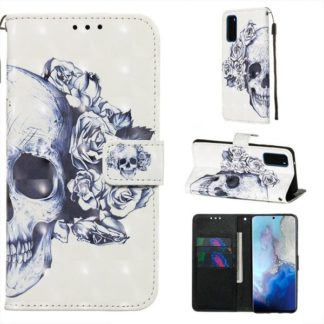 Plånboksfodral Samsung Galaxy S20 – Döskalle / Rosor