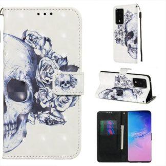 Plånboksfodral Samsung Galaxy S20 Ultra – Döskalle / Rosor