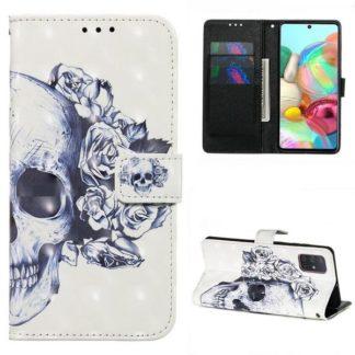 Plånboksfodral Samsung Galaxy A71 – Döskalle / Rosor