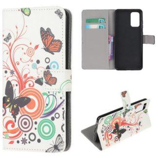 Plånboksfodral Samsung Galaxy S20 Plus - Vit med Fjärilar