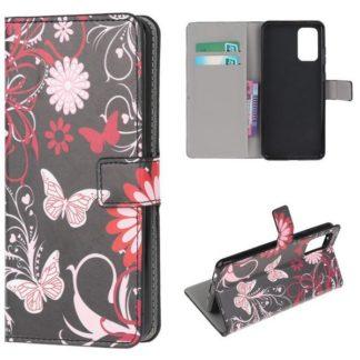 Plånboksfodral Samsung Galaxy S20 Plus - Svart med Fjärilar