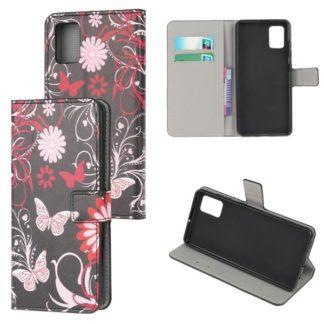 Plånboksfodral Samsung Galaxy A71 - Svart med Fjärilar