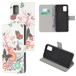 Plånboksfodral Samsung Galaxy A71 - Vit med Fjärilar