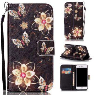 Plånboksfodral iPhone SE (2020) – Blommor i Guld