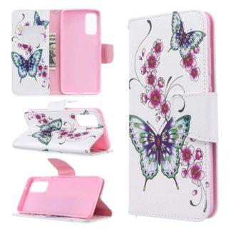 Plånboksfodral Samsung Galaxy S20 – Fjärilar och Blommor