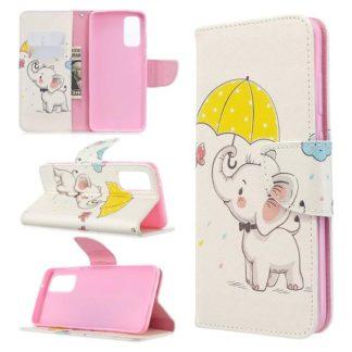 Plånboksfodral Samsung Galaxy S20 – Elefant med Paraply