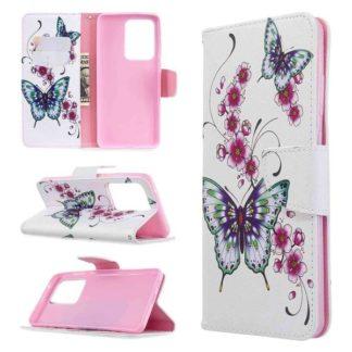 Plånboksfodral Samsung Galaxy S20 Ultra – Fjärilar och Blommor
