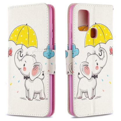 Plånboksfodral Samsung Galaxy A21s – Elefant med Paraply