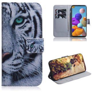 Plånboksfodral Samsung Galaxy A21s – Vit Tiger