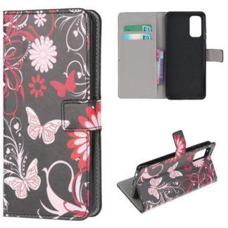 Plånboksfodral Samsung Galaxy S20 FE - Svart med Fjärilar