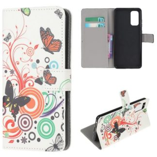 Plånboksfodral Samsung Galaxy S20 FE - Vit med Fjärilar