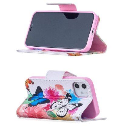 Plånboksfodral Apple iPhone 12 Mini – Färgglada Fjärilar
