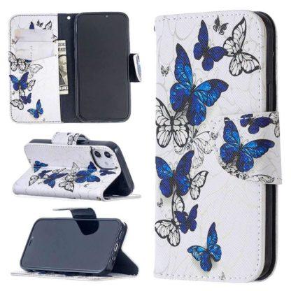 Plånboksfodral Apple iPhone 12 Mini – Blåa och Vita Fjärilar
