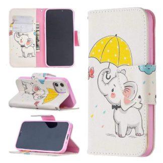 Plånboksfodral Apple iPhone 12 – Elefant med Paraply