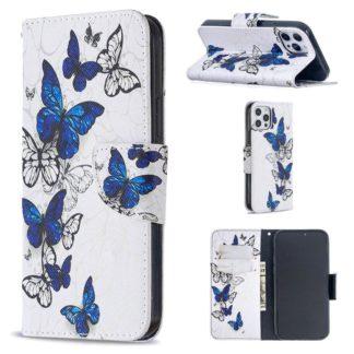 Plånboksfodral Apple iPhone 12 Pro – Blåa och Vita Fjärilar