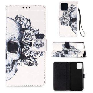 Plånboksfodral iPhone 12 Pro Max – Döskalle / Rosor