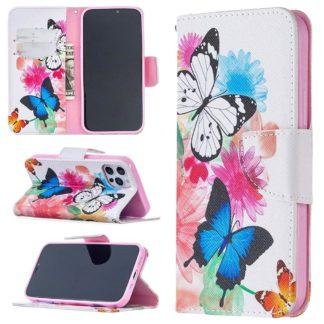 Plånboksfodral iPhone 12 Pro Max – Färgglada Fjärilar