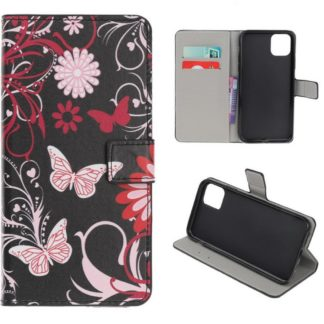Plånboksfodral iPhone 12 Pro Max - Svart med Fjärilar