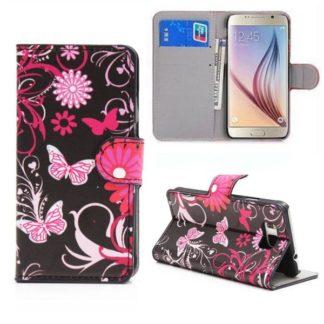 Plånboksfodral Samsung Galaxy S6 Edge - Svart med Fjärilar