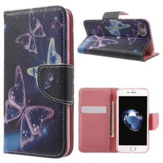 Plånboksfodral Apple Iphone 7 – Lila / Fjärilar