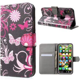 Plånboksfodral iPhone X / iPhone Xs - Svart med Fjärilar