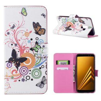 Plånboksfodral Samsung Galaxy A8 (2018) - Vit med Fjärilar