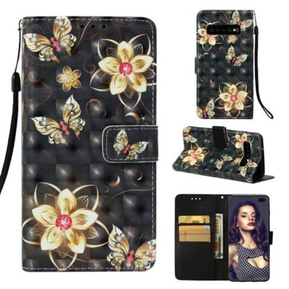 Plånboksfodral Samsung Galaxy S10 Plus – Blommor i Guld