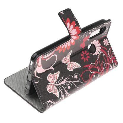 Plånboksfodral Huawei P30 Lite - Svart med Fjärilar