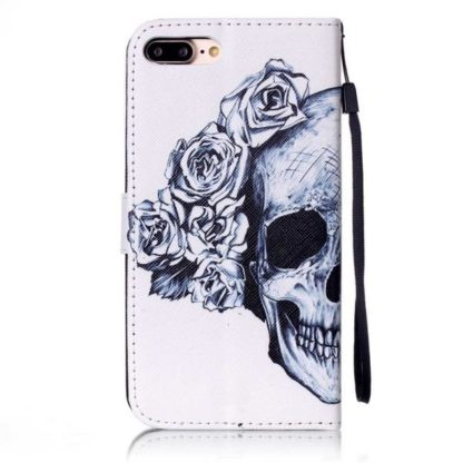 Plånboksfodral iPhone 6 Plus / 6s Plus – Döskalle / Rosor