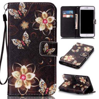 Plånboksfodral iPhone 6 Plus / 6s Plus – Blommor i Guld