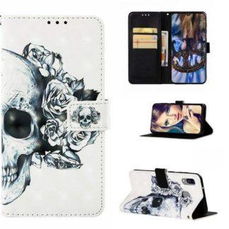 Plånboksfodral Samsung Galaxy A40 – Döskalle / Rosor