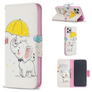 Plånboksfodral iPhone 12 Pro Max – Elefant med Paraply