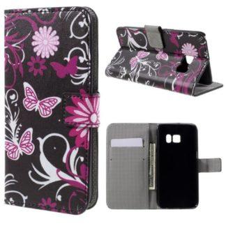 Plånboksfodral Samsung Galaxy S7 - Svart med Fjärilar