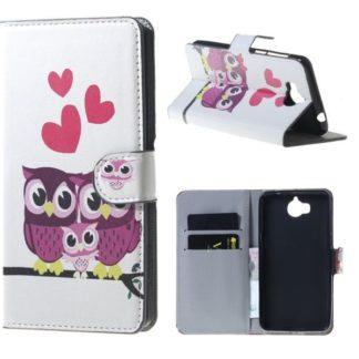 Plånboksfodral Huawei Y6 2017 – Ugglor & Hjärtan