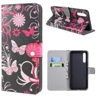 Plånboksfodral Huawei P20 Pro - Svart med Fjärilar
