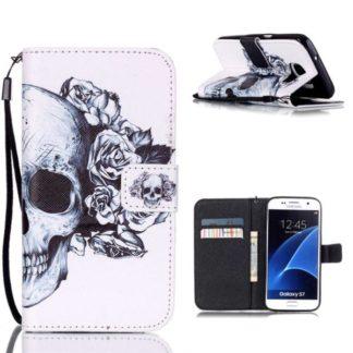Plånboksfodral Samsung Galaxy S7 – Döskalle / Rosor