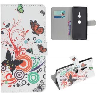 Plånboksfodral Sony Xperia XZ3 - Vit med Fjärilar