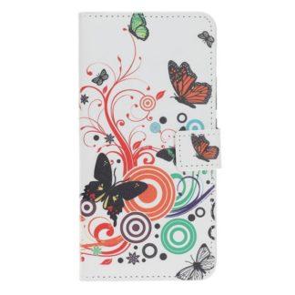Plånboksfodral Samsung Galaxy S7 - Vit med Fjärilar