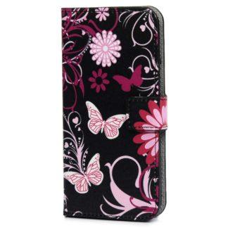 Plånboksfodral Samsung Galaxy A6 Plus - Svart med Fjärilar